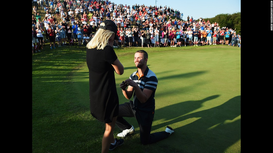 Danish pro golfer Andreas Harto proposes to his girlfriend, Louise De Fries, during the second round of a European Tour event in Aalborg, Denmark, on Friday, August 21. She said yes.