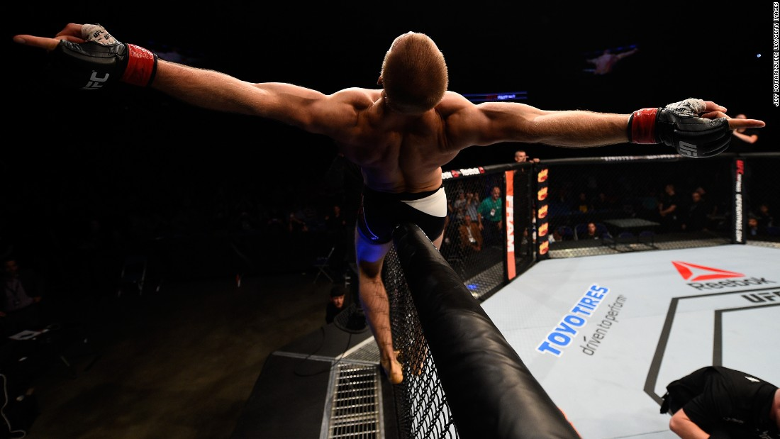 Misha Cirkunov celebrates after his victory over Daniel Jolly at a UFC event in Saskatoon, Saskatchewan, on Sunday, August 23. It was the UFC debut for Cirkunov, who won by first-round TKO.