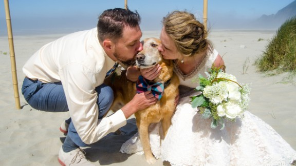 """Dood the dog did a """"fantastic job as the ring bearer"""" at Cassidy Williams' wedding in early August. """"It was really precious,"""" she said. The event was bittersweet, because Dood had recently been diagnosed with terminal cancer."""