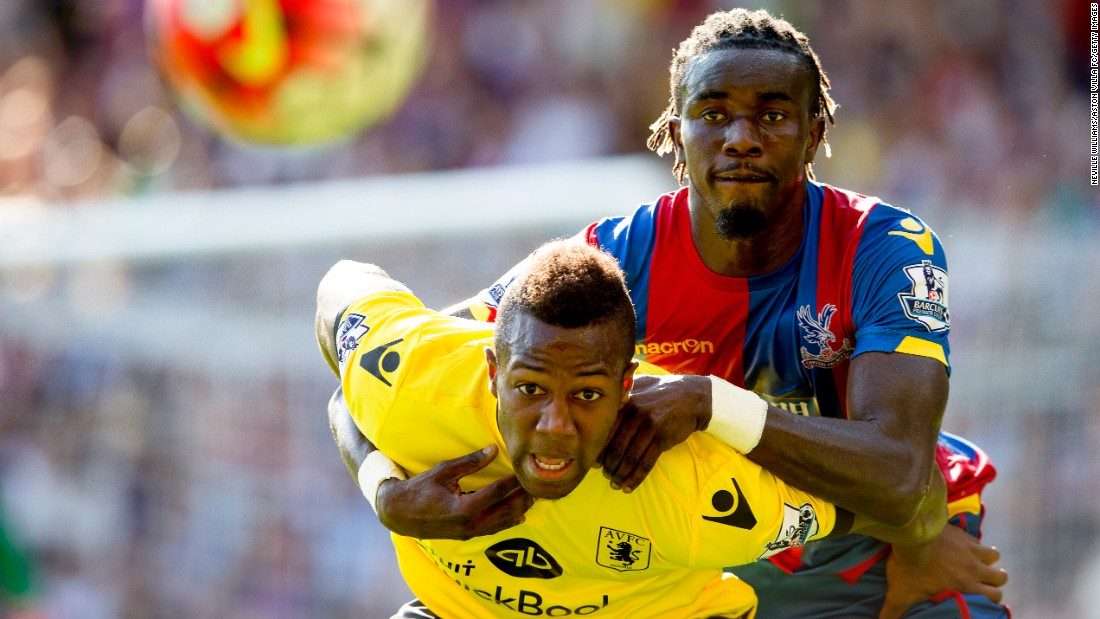 Adama Traore of Aston Villa, left, tries to shield Pape Souare of Crystal Palace during a Premier League match in London on Saturday, August 22.