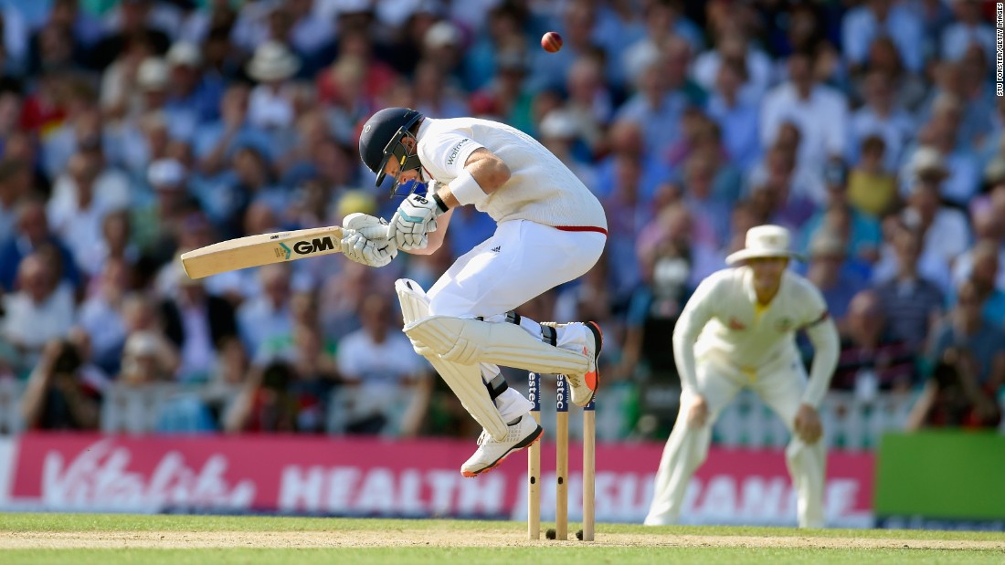 England batsman Joe Root avoids a short ball from Australia's Mitchell Johnson during a cricket match in London on Friday, August 21. England lost the match but still won the Ashes series. Root won the Compton-Miller Medal for player of the series.