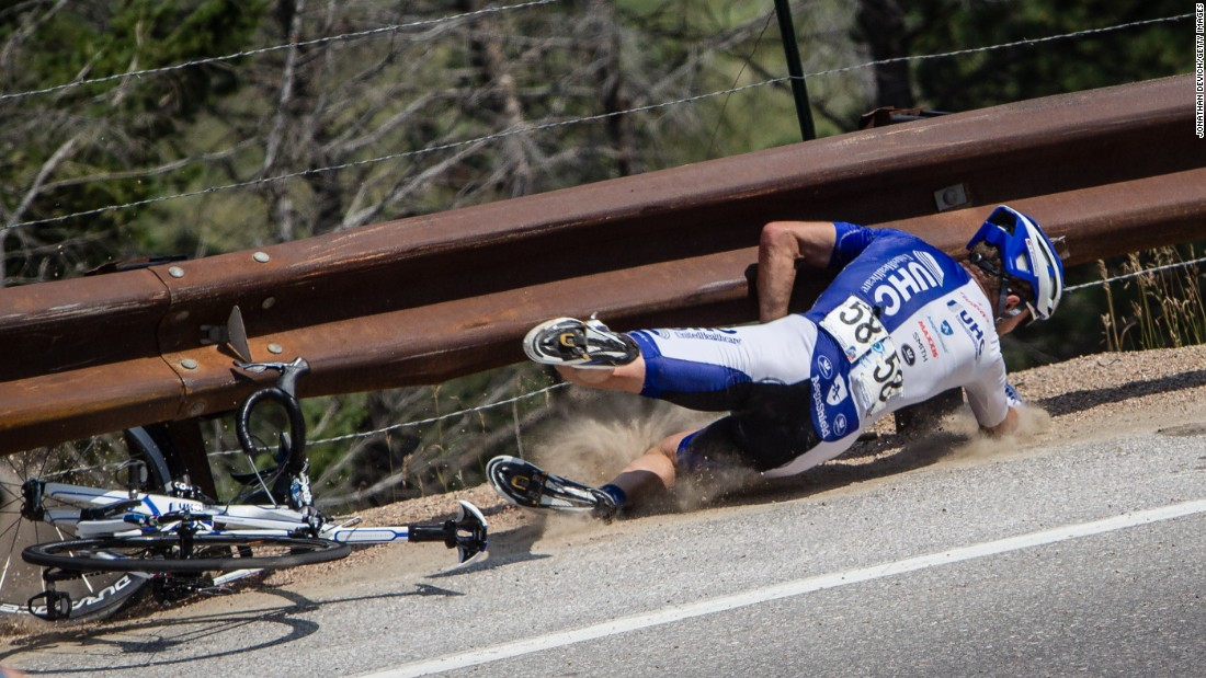 "Cyclist Danny Summerhill falls during stage six of the USA Pro Challenge, which took place Saturday, August 22, in Loveland, Colorado. He had a sense of humor about his fall, <a href=""https://instagram.com/p/6tRTuIo4xq/"" target=""_blank"">posting it to his Instagram account</a> with the caption ""Hey look, a penny."""