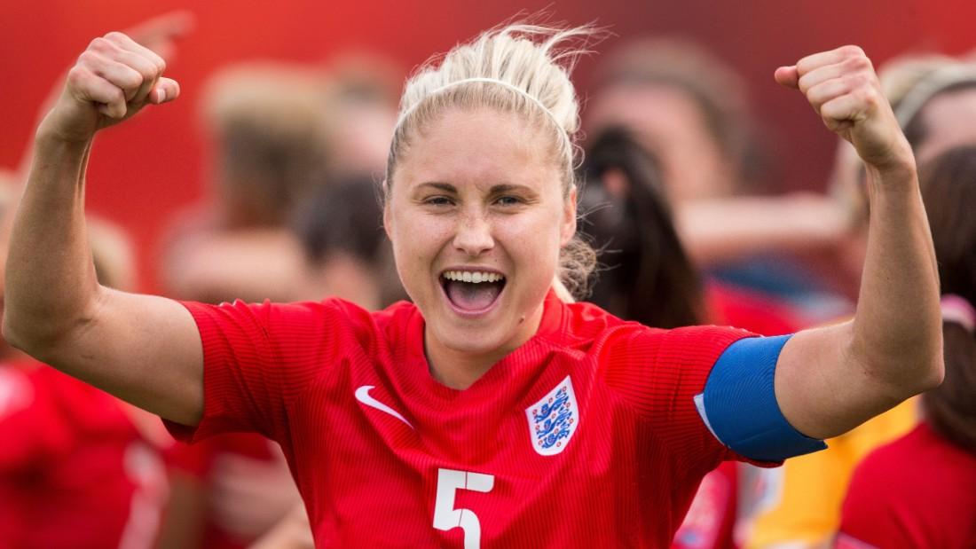 England's Steph Houghton celebrates their 1-0 win over Germany in the bronze medal match at the 2015 FIFA Women's World Cup in Edmonton, Alberta on July 4, 2015.  AFP PHOTO/GEOFF ROBINS        (Photo credit should read GEOFF ROBINS/AFP/Getty Images)