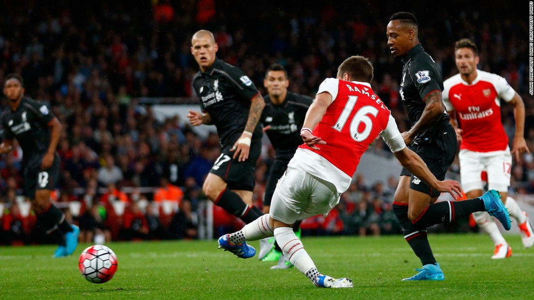 Aaron Ramsey thought he had put Arsenal ahead against Liverpool in the ninth minute, but it was ruled offside in a marginal decision.