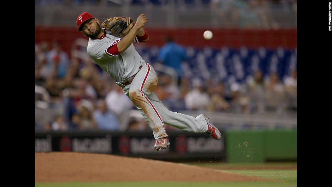 Philadelphia third baseman Andres Blanco throws to first base during a game in Miami on Friday, August 21.