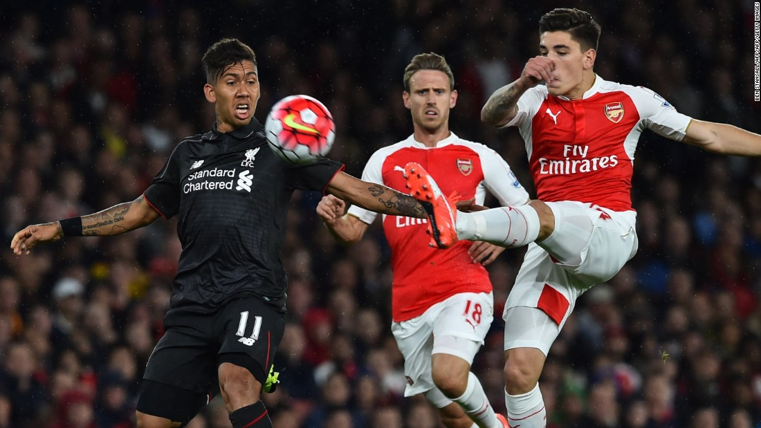 Brazil forward Roberto Firmino (left) made his first start for Liverpool.