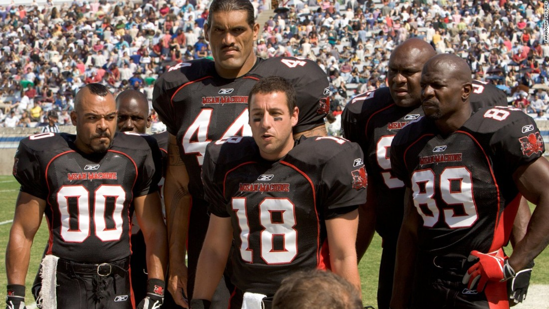 "To celebrate the football season, let's take a look at the plot lines of our favorite gridiron-related movies. In the 2005 remake ""The Longest Yard,"" Adam Sandler (center, in the old Burt Reynolds role) leads a team of prison inmates in a game against their guards."