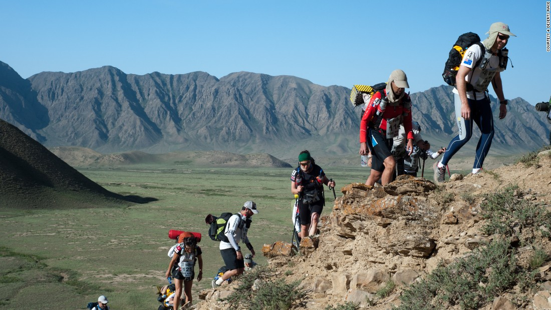 "Runners also take on the <a href=""http://www.4deserts.com/gobimarch/"" target=""_blank"">Gobi March</a> in China, as part of the challenge. Though it could just as easily be described as a climbing expedition, with the stunning Tian Shan Mountains as a backdrop."