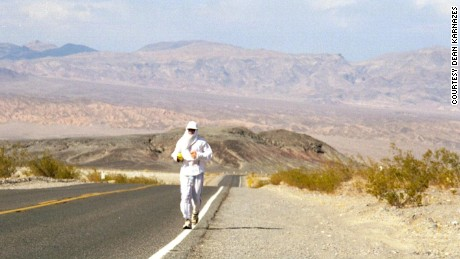 He might look a bee keeper on the run, but this is the UV protective outfit Karnazes wore during the Badwater Ultramarathon in Death Valley.
