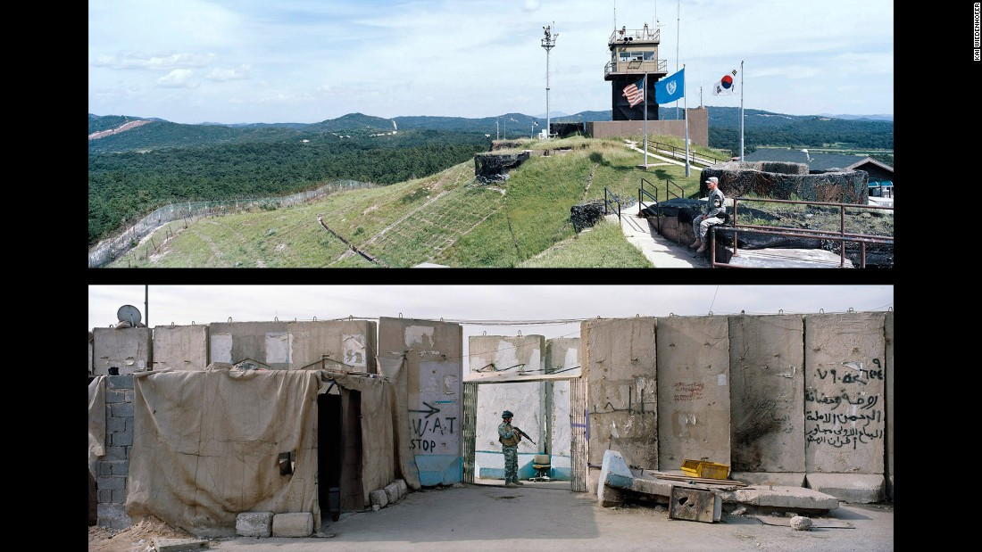 Top: Demilitarized Zone, Panmunjom; Korea, 2009. Bottom: Baghdad, Baida Quater; Iraq, 2012.