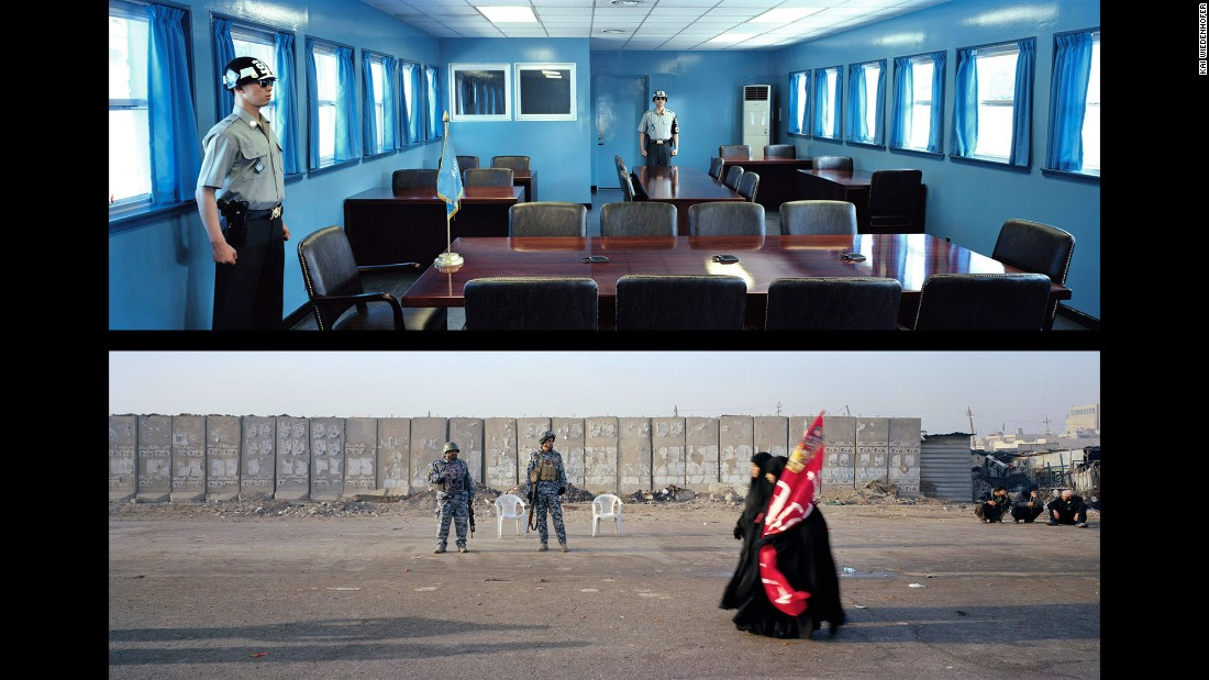 Top: Panmunjom, Demilitarized Zone; Korea, 2009. Bottom: Baghdad, Omar Khattab Street; Iraq, 2012.