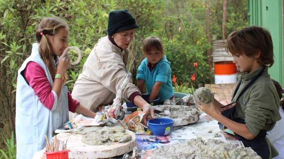 Claudia Mazabel gave the kids a lesson in pottery at the farm near Bogota.