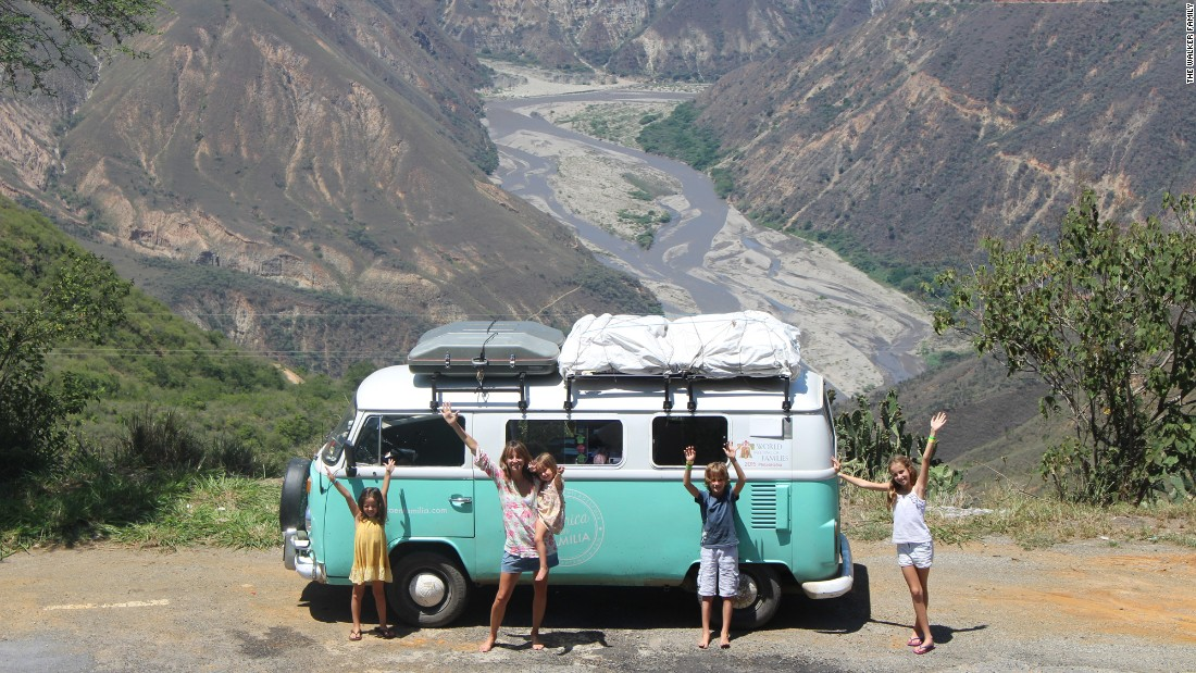The 1980 VW bus stands out wherever the Walkers go, even against the most scenic landscapes such as the mountains of Colombia.