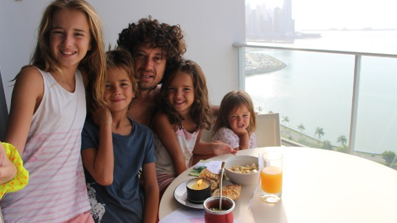 Another birthday! This time, the family surprised Catire with a special breakfast on the 24th floor of the apartment building where they stayed in Panama City, Panama.
