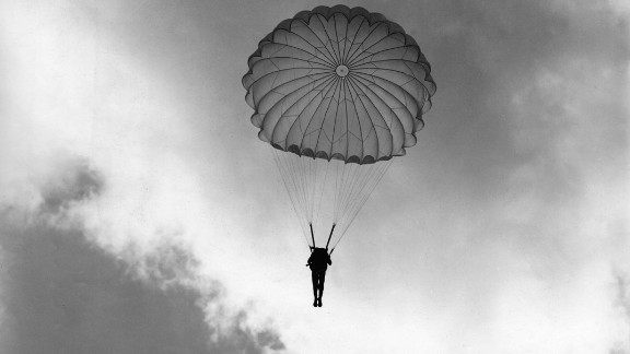 Zhang worked with Retired Army Col. John Easterbrook to bring the photo exhibition to the United States, where many Americans were surprised to learn of of the U.S. effort against Japan in China, Easterbrook says. Here, a Chinese commando being trained as a paratrooper by American officers makes his first jump in Kunming, southwest China.