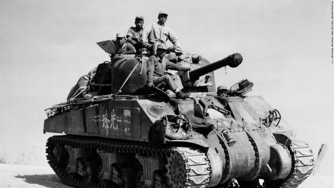 China was the first country to enter what would become World War II.  On July 7, 1937, a clash between Chinese and Japanese troops at the Marco Polo Bridge, just outside Beijing, led to all-out war. Here, a Chinese manned tank moves south along the Burma Road toward Lashio, Burma on February 24, 1945