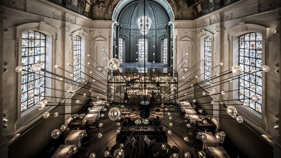 The Jane took top prize for best restaurant design at this year's Restaurant and Bar Design Awards.    This ex-military hospital chapel was transformed into an alluring space by local design practice Piet Boon. It features a statement, spiked chandelier design and all-new stained glass windows by Studio Job