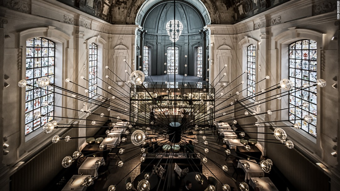 "The Jane took top prize for best restaurant design at this year's <a href=""http://restaurantandbardesignawards.com/"" target=""_blank"">Restaurant and Bar Design Awards.  </a><br />This ex-military hospital chapel was transformed into an alluring space by local design practice Piet Boon. It features a statement, spiked chandelier design and all-new stained glass windows by Studio Job<br />"