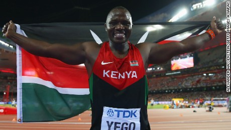 Julius Yego of Kenya celebrates after winning gold in the Men's Javelin final during day five of the 15th IAAF World Athletics Championships.