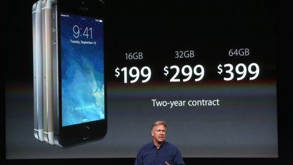 Schiller unveiled the iPhone 5S on September 10, 2013, at the Apple campus in Cupertino. For the first time Apple launched two new iPhone models, the 5S and the cheaper 5C, both running iOS 7. The 5S featured a fingerprint sensor, an upgraded camera and an A7 processing chip.