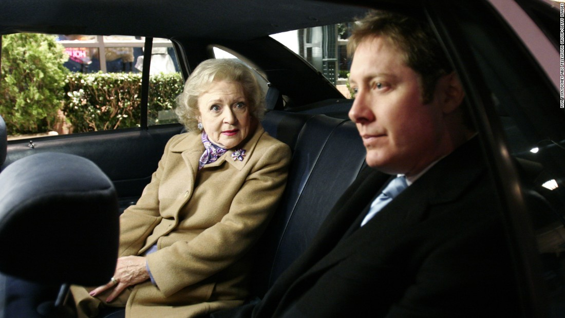 "White occasionally appeared on ""Boston Legal,"" playing a flinty secretary. James Spader starred in the show."