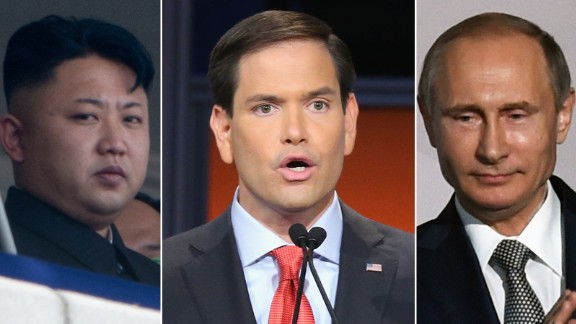 Kim Jong Un, Marco Rubio and Vladimir Putin are pictured in this composite image.