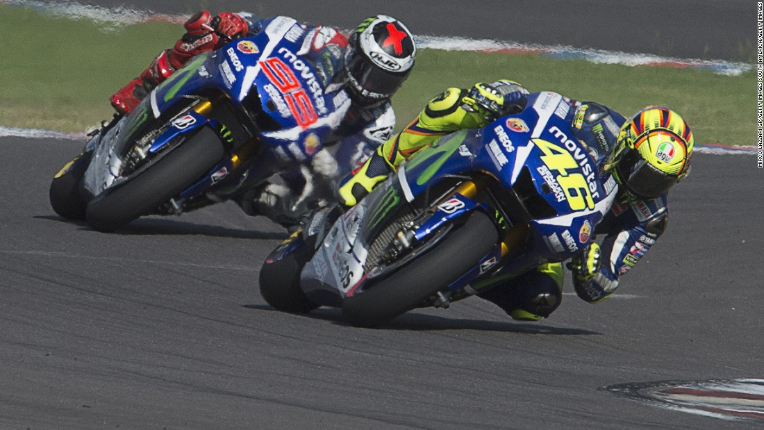 Rossi and Lorenzo have been engaged in a titanic battle this season. Here, the Italian leads the Spaniard at the MotoGP of Argentina.