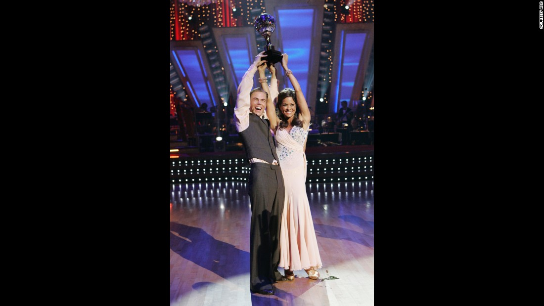 "Television personality and model Brooke Burke and Hough were crowned season 7 champions of ""Dancing With the Stars."" Burke went on to co-host the show with Tom Bergeron from 2008 through 2013."