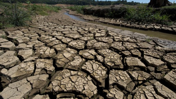 View of the bed of Jacarei river dam, in Piracaia, during a drought affecting Sao Paulo state, Brazil on November 19, 2014. The Jacarei river dam is part of the Sao Paulo