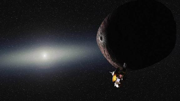 An artist's impression of what New Horizons would look like flying by 2014 MU69, nicknamed PT1, in the Kuiper Belt.