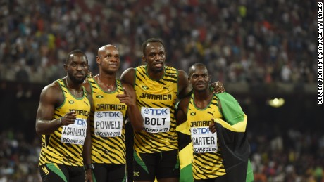 The Jamaican relay team (L-R) Nickel Ashmeade, Asafa Powell,Usain Bolt and Nesta Carter.