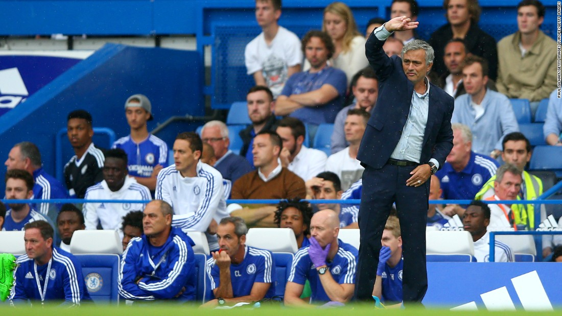 Jose Mourinho gestures during Chelsea's home loss to Crystal Palace.