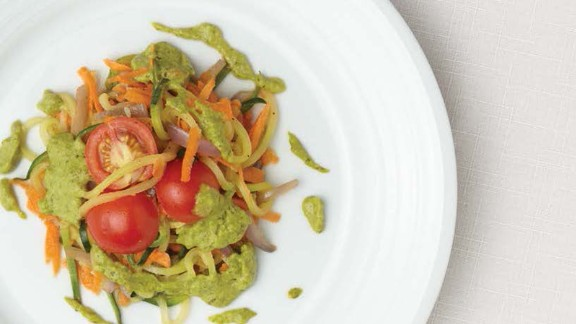 CLICK HERE FOR PRINTABLE RECIPE  Winning recipe from 2015 Healthy Lunchtime Challenge: Oodles of zoodles with avocado pistachio pesto, submitted by 10-year-old Nia Thomas of Arizona
