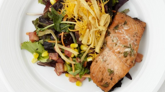 CLICK HERE FOR PRINTABLE RECIPE  Winning recipe from 2014 Healthy Lunchtime Challenge: Salmon and salad island deluxe, submitted by 10-year-old Karla Gonzalez of Puerto Rico