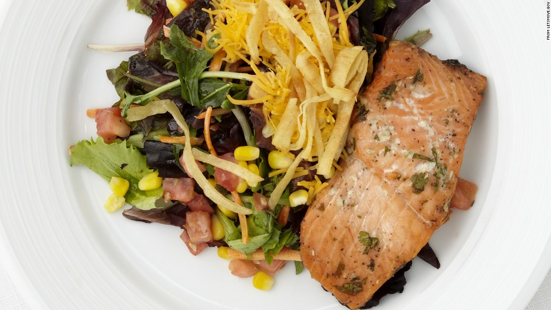 "<a href=""http://www.cnn.com/2015/09/03/health/salmon-and-salad-island-deluxe/index.html""><strong>CLICK HERE FOR PRINTABLE RECIPE</a></strong><br /><br />Winning recipe from 2014 Healthy Lunchtime Challenge: Salmon and salad island deluxe, submitted by 10-year-old Karla Gonzalez of Puerto Rico"