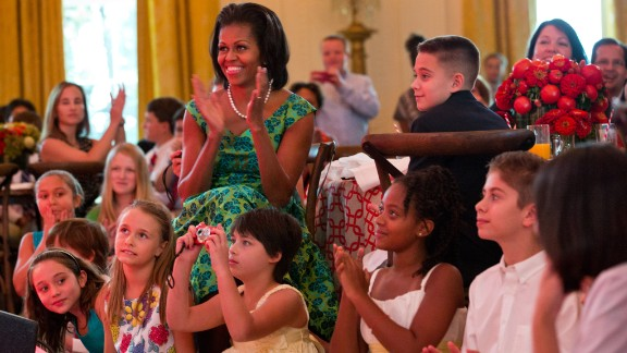 """First Lady Michelle Obama and guests at the 2012 Kids' """"State Dinner."""""""