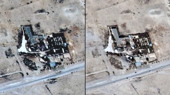 Satellite images of the Baal Shamin temple seen on June 26, 2015 in Syria