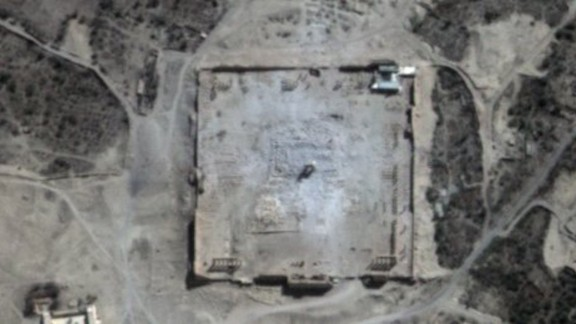 A satellite image confirms the destruction of the main building of the Temple of Bel, as well as a row of columns in its immediate vicinity.