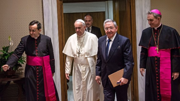 Pope Francis meets with Cuban President Raul Castro at the Vatican on Sunday, May 10, 2015. Castro thanked the Pope for his role in brokering the rapprochement between Havana and Washington.