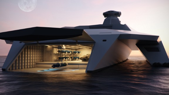 "Britain's concept warship of the future, dubbed ""Dreadnought 2050,"" has a ""moon pool"" at its stern to launch amphibious troops."