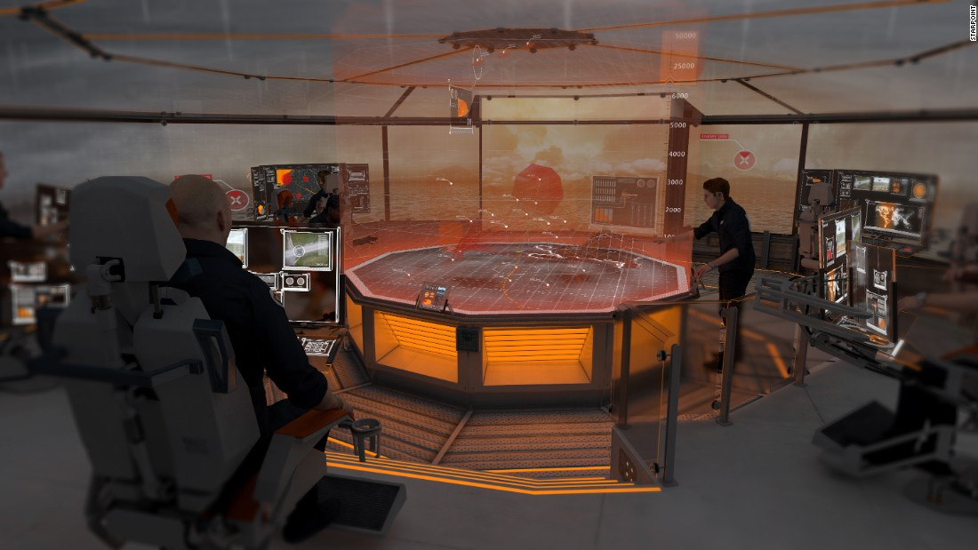 The ship's entire systems would be monitored in a control room with a 3-D holographic command table. Five people could run the entire system, compared to 25 in current control rooms.