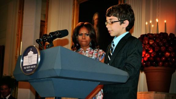Braeden Mannering speaks during his visit to Washington.