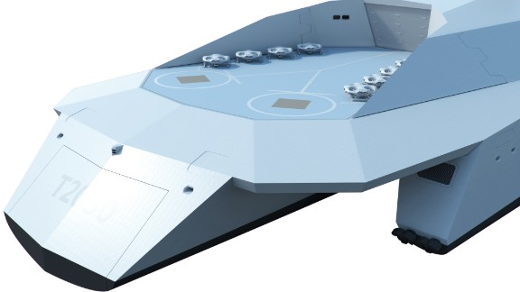 Dreadnought 2050 has a flight deck for drones that could be made onboard using 3-D printing.