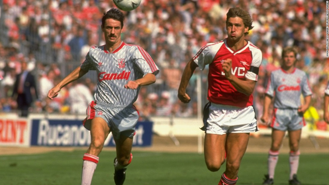 Ian Rush of Liverpool (left) and Tony Adams of Arsenal in action during the 1989 Charity Shield match at Wembley Stadium in London. Rush won five league titles with Liverpool, along with three FA Cups and two European Cups.