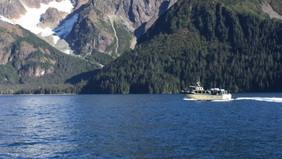 "President Barack Obama aboard the ""Viewfinder,"" touring Resurrection Bay, Alaska on Tuesday. Photos by CNN's Jim Acosta."