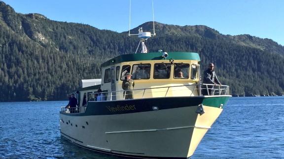 "Obama aboard the ""Viewfinder,"" touring Resurrection Bay, Alaska on Tuesday."