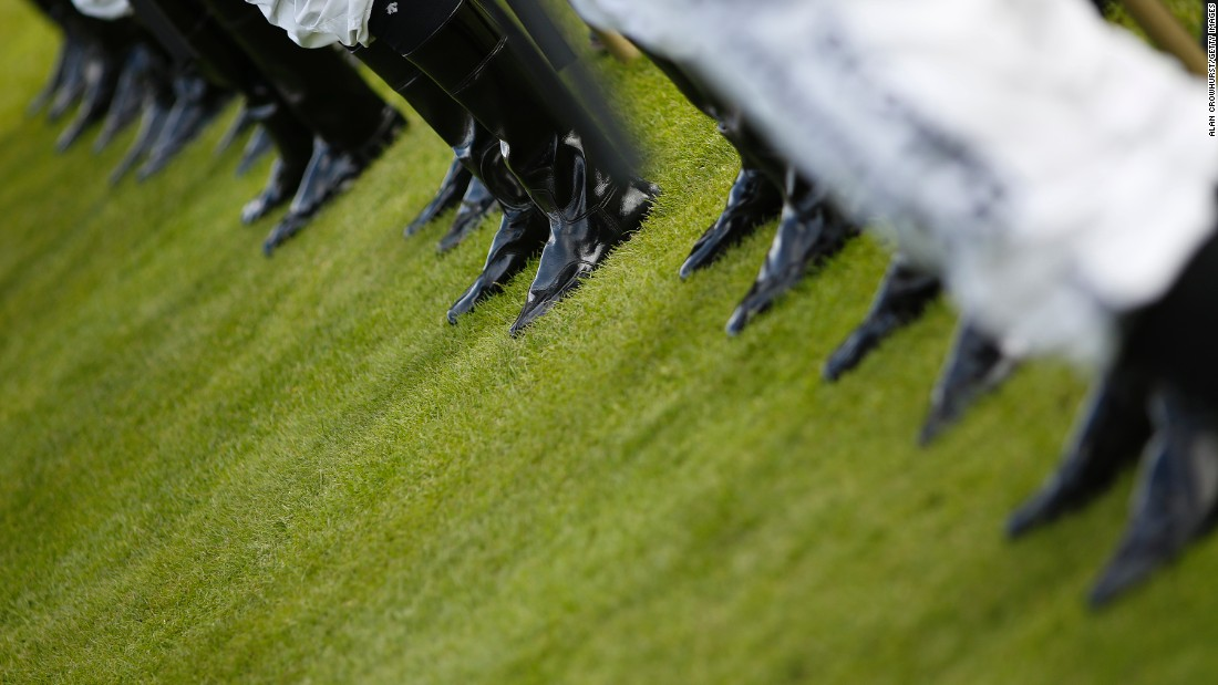 YORK, ENGLAND - AUGUST 20: Jockeys riding boots as they line up at York racecourse on August 20, 2015 in York, England. (Photo by Alan Crowhurst/Getty Images)
