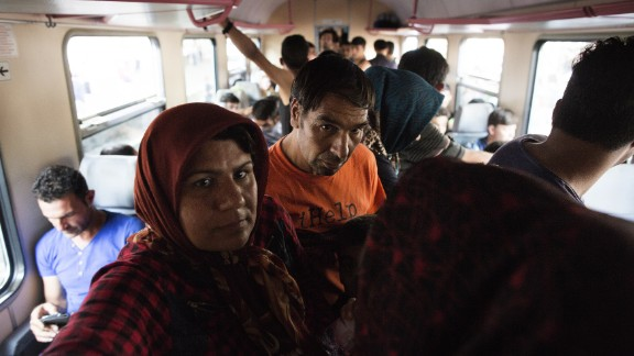 Migrants inside a train inside the Keleti station.