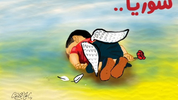 """Illustration by <a href=""""https://twitter.com/islamgawish/status/639107715063775233/photo/1"""" target=""""_blank"""" target=""""_blank"""">Islam Gawish</a>, an Egyptian cartoonist: """"This child who wanted freedom, has been killed by the fear of war, the war that he was not a part of."""""""