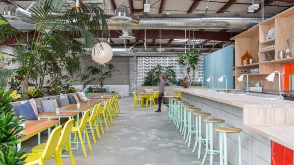This vegan oasis in Los Angeles arts district offers a multipurpose space sprawling across more than 13,000 square feet within a standard-issue 1980s cinder block warehouse.   Designed by architects Catherine Johnson and Rebecca Rudolph of, ahem, Design Bitches, the health super center offers holistic treatments, yoga and a vegan menu.   Design by Design Bitches, Photo by Laure Joliet from Let's Go Out Again, Copyright Gestalten 2015